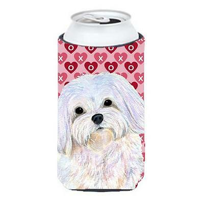 Maltese Hearts Love And Valentines Day Portrait Tall Boy bottle sleeve Hugger...