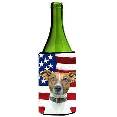 USA American Flag with Jack Russell Terrier Wine bottle sleeve Hugger