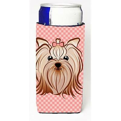 Pink Checkered Yorkie & Yorkshire Terrier Michelob Ultra bottle sleeves for s...