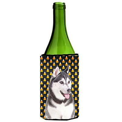 Candy Corn Halloween Alaskan Malamute Wine bottle sleeve Hugger