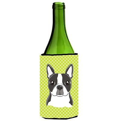 Carolines Treasures Lime Checkered Boston Terrier Wine bottle sleeve Hugger