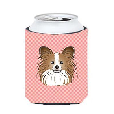 Carolines Treasures Checkerboard Pink Papillon Can Or Bottle Hugger, 12 Oz.