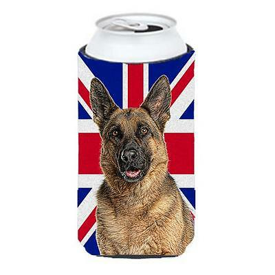German Shepherd with English Union Jack British Flag Tall Boy bottle sleeve H...