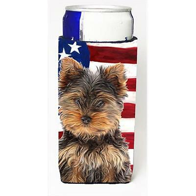 USA American Flag with Yorkie Puppy & Yorkshire Terrier Michelob Ultra bottle...