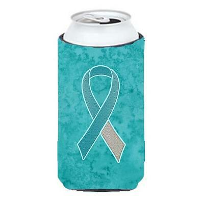Teal and White Ribbon for Cervical Cancer Awareness Tall Boy bottle sleeve Hu...