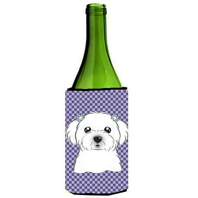 Carolines Treasures Purple Checkered Maltese Wine bottle sleeve Hugger