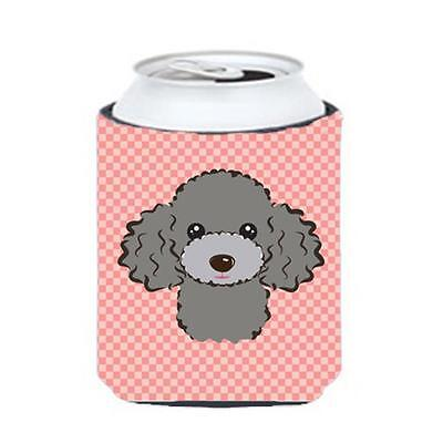 Checkerboard Pink Silver Gray Poodle Can Or Bottle Hugger, 12 Oz.