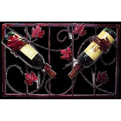 Metrotex Designs Grape Leaf Design Wall Two Bottle Wine Rack-Rich Merlot Finish