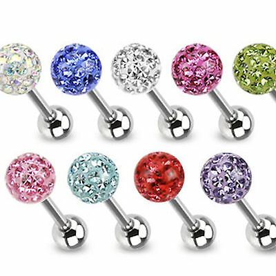 Epoxy Coated Ferido Gem Disco Crystal Tongue Nipple Bar -5mm ball -4 bar lengths