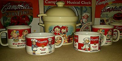 Campbell's Soup Lot 4 MUGS SOUP TUREEN & LADLE *new condition