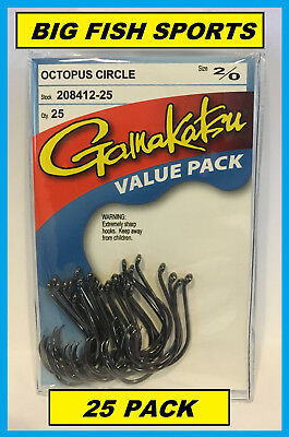 GAMAKATSU #208 OCTOPUS CIRCLE HOOK 25 HOOKS Value Pack 2/0 208412-25 NEW!