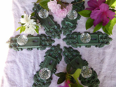 SIX  Cast Iron door plates with acrylic glass knobs in antique turquoise/gold