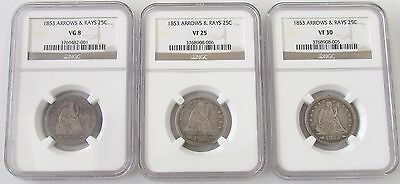 3 - Seated Liberty Silver Quarters NGC Graded