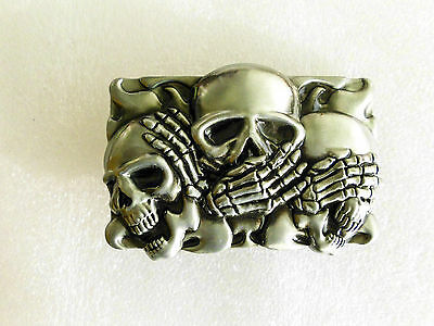 Belt buckle - 3 Wise Mystics Ghost Skull  suit belts, straps up to 40mm Qty 1
