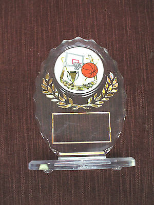 BASKETBALL trophy clear acrylic oval award personalized