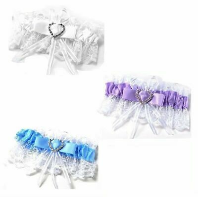 Bridal Garter Wedding Satin White Blue Purple Crystal Bow Heart Lace Diamante