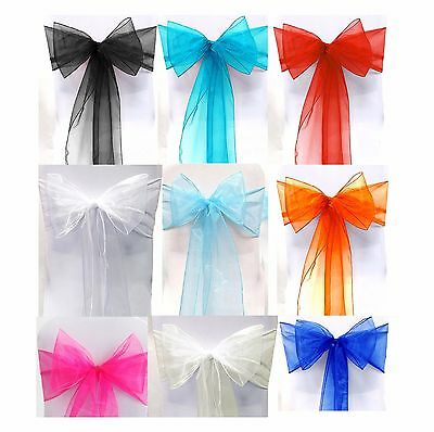 25 X Organza Bows Chair Sashes Wedding Engagement Black White Silver Seat Bow