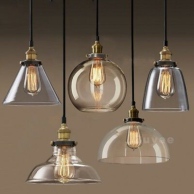 Vintage Industrial Filament Clear Glass Brass Chrome Pendant Lamp Hanging Light