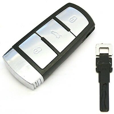 VW Passat Mk7 B6 (05-09) 3 Button Smart Key Chrome Remote Fob For Key less Entry