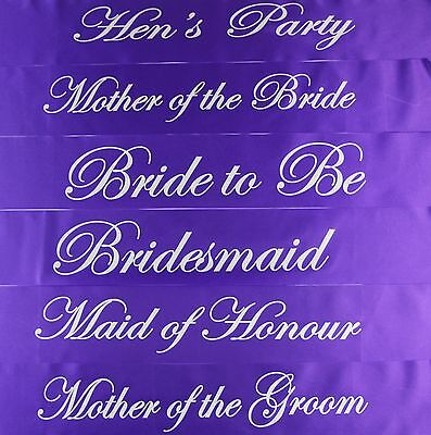 Hens Night Bridal Sash Sashes Bride Bridesmaid Maid Of Honour - Purple + Silver