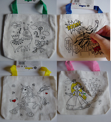 Colour In Bag, Kids size Tote bag, with permanent ink pens, colouring your own