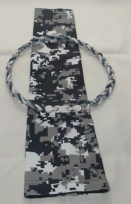 Navy Gray White Yankees Camo Compression Arm Sleeve & Baseball Tornado Necklace