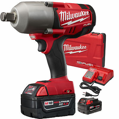 "M18 FUEL 3/4""dr Impact Wrench with Hog Ring Kit 5.0ah Batt Milwaukee 2764-22 New"