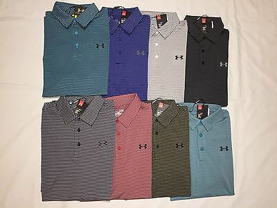 New With Tags Under Armour Heat Gear Men's Stripes Golf Polo Shirts
