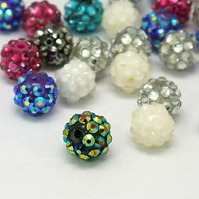 100PC Mixed Color Beading Crafts Making Resin Rhinestone Round Chunky Beads 12mm