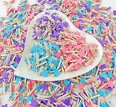 Mini 30mm Wooden Clothes Pegs with 15mm Stars For Craft ShabbyChic Embellishment