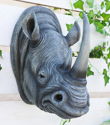 African Rhinoceros Head Bust Hanging Wall Mount Home Decor Collection Statue