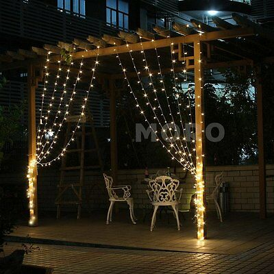 3Mx3M Warm White Curtain Lights Outdoor Lamp Christmas xmas String Fairy Wedding