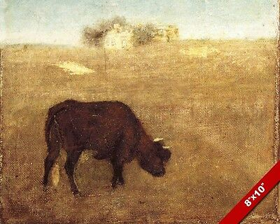 Red Horned Cow Grazing In The Evening Animal Painting Farm Art Real Canvas Print