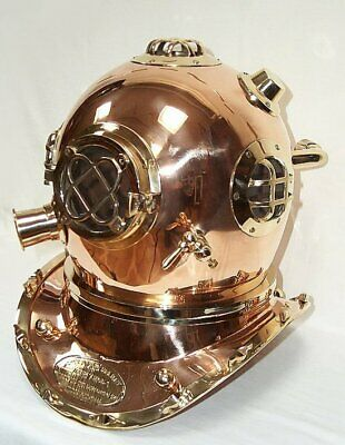 Taucherhelm, Patent Taucherhelm Mark V Navy Diving Helmet 1897 Replik aus Kupfer
