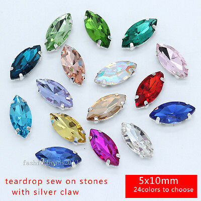 50 crystal 5x10mm Sew On Foiled glass navette rhinestone/stones/beads pick color