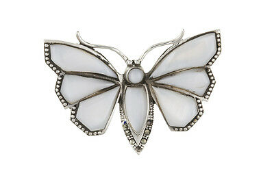 Sterling Silver White Mother of Pearl Butterfly Brooch