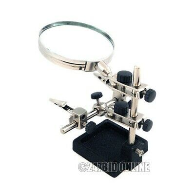 "Heavy Duty Hands Free Helping 3Rd Hand Magnifier 3.5"" Magnifying Glass Soldering"