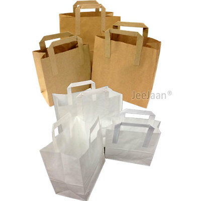SOS Paper Carrier Bags White Brown Kraft Takeaway  Flat Handles S/M/L Food Lunch