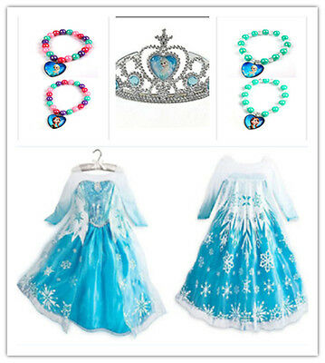Frozen Esla Dress Girls Queen Princess Cosplay Party Fancy Formal Costume Crown