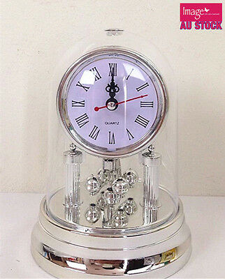 1pc Silver Plated Dome Mantel Clock Romen Numerals Round Quartz Clock
