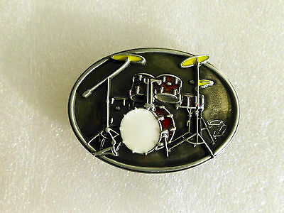 Belt buckle - Oval Classic Music Band Buckle white, red&yellow enamelled 84x61mm