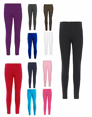 Girls full Length Leggings Plain New Dance Stretch Child Teens 2-13 Years