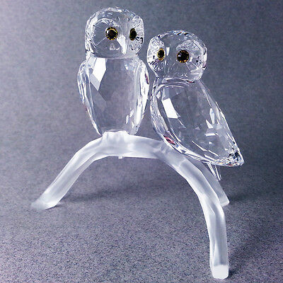 Swarovski # 1003312 Owls on Branch, Pair, Crystal Figurine ** New in Box **