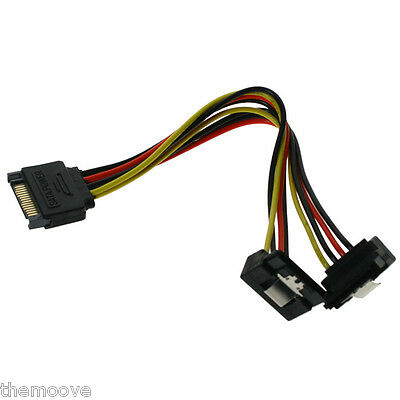 20cm SATA 15-Pin Male to 2 x 15P Female 90 Degree Y Splitter Adapter Power Cable