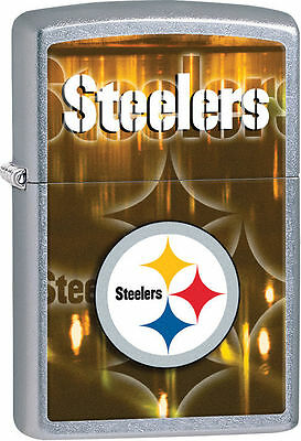 Zippo Street Chrome Lighter With Pittsburgh Steelers Logo, 28612, New In Box