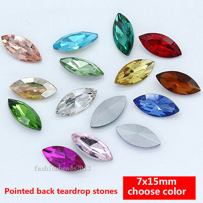 20 Rhinestone Faceted Pointed back Foiled glass Jewels beads navette 7x15mm Y-pk