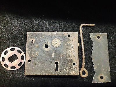 Antique Carpenter Iron Door Lock - No 60 Improved Lock - Brass Eagle Emblem Vtg