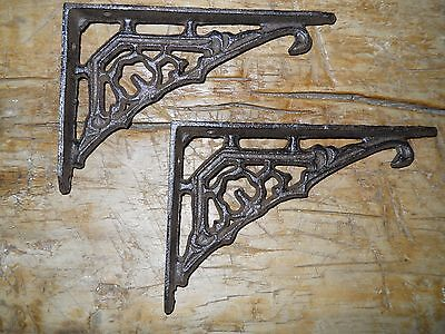 2 Cast Iron Antique Style Art Deco Brackets, Garden Braces Shelf Bracket