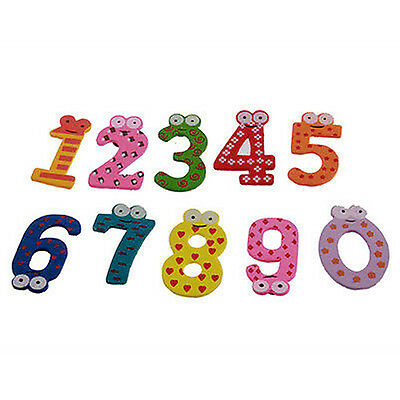 Set 10 Number Wooden Fridge Magnets Kids Educational Toy Small Brand New Funny