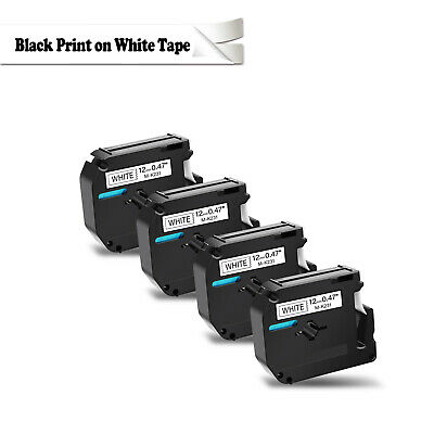 4 pack for Brother P-touch PT80 PT70 Black on White Label Tape M-K231 MK231